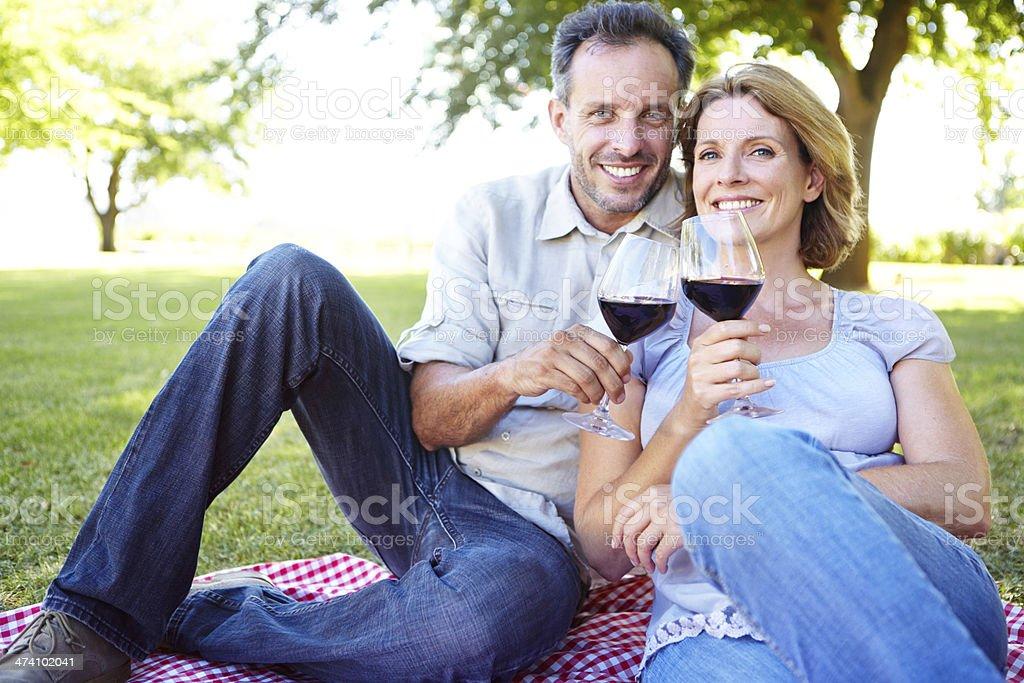 Enjoying a romantic picnic royalty-free stock photo