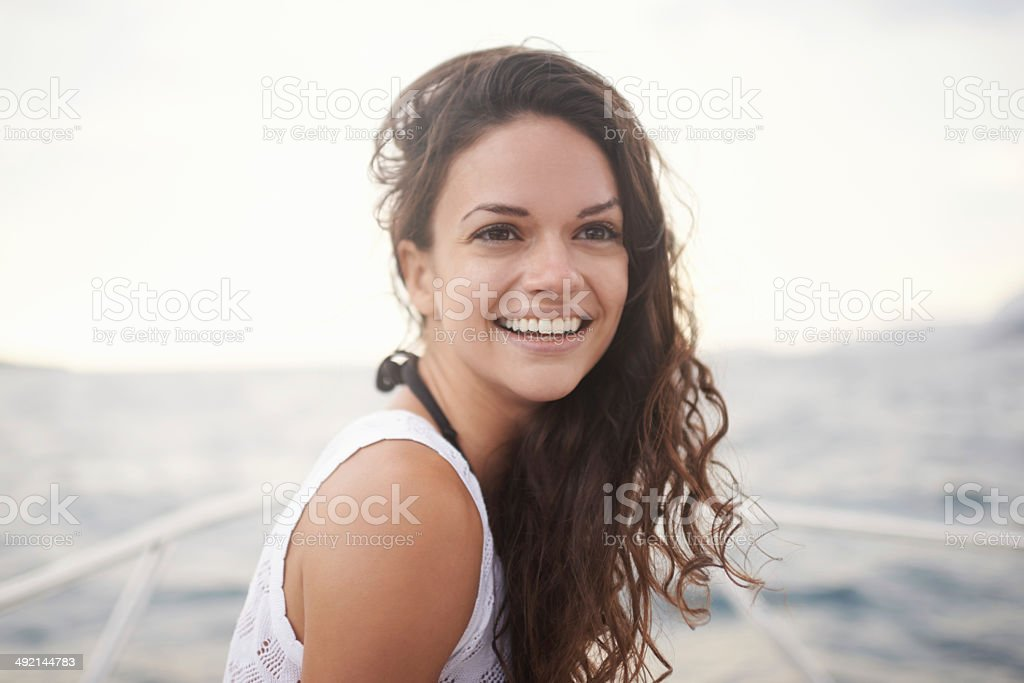 Enjoying a summer sail stock photo