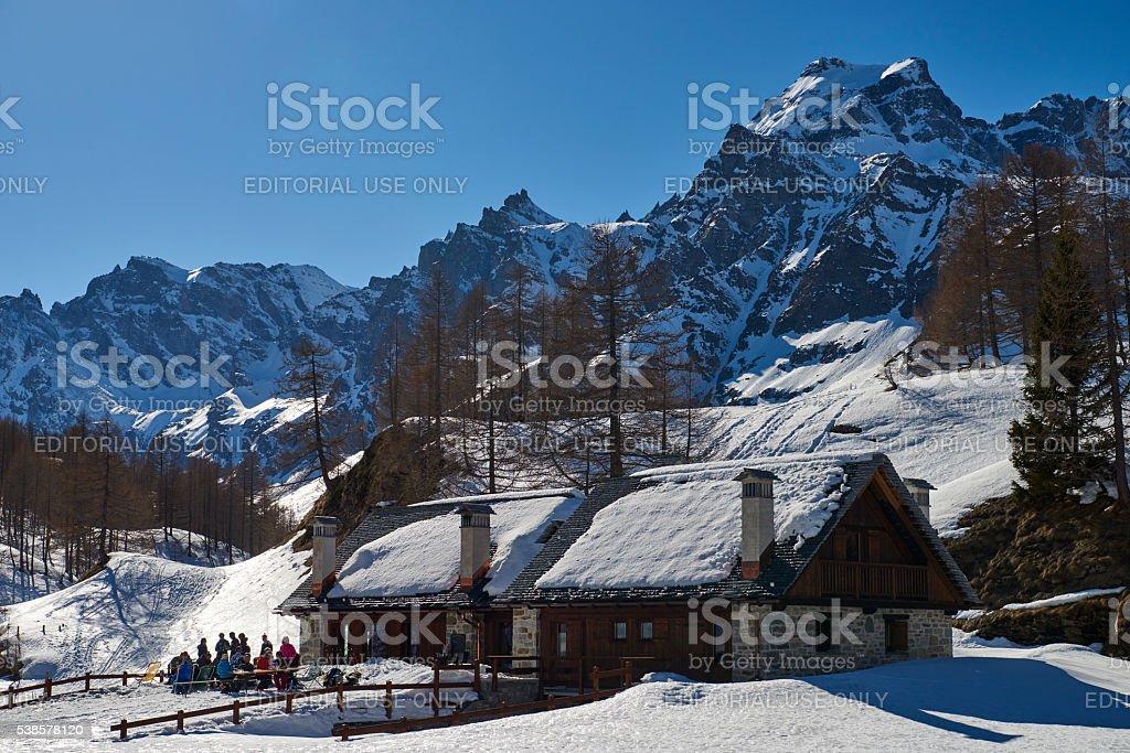 Enjoying A Sunny Day in European Alps stock photo