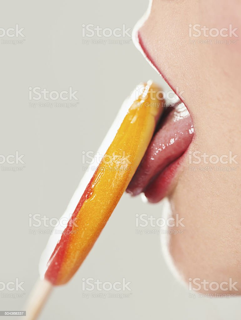 Enjoying a sweet treat stock photo