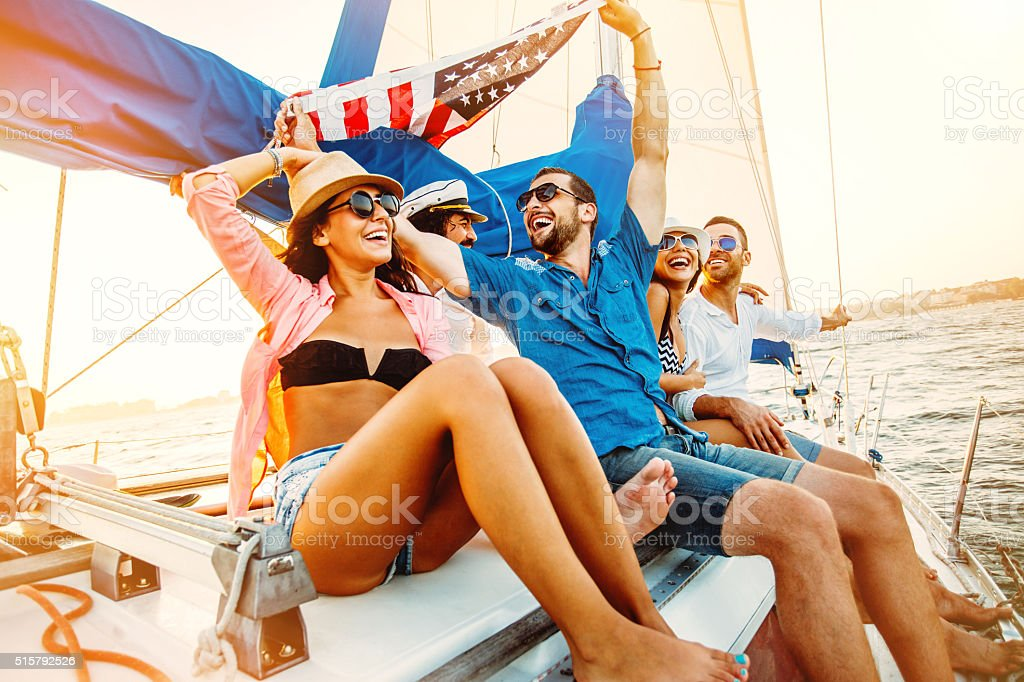 Enjoying a yacht trip stock photo