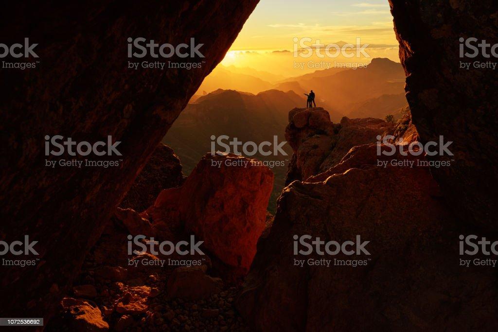enjoying amazing landscape stock photo