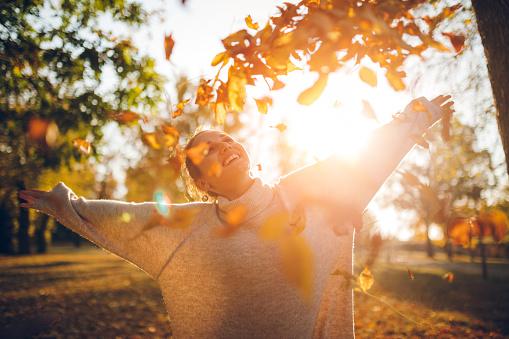 Genieten Van Het Herfst Park Stockfoto en meer beelden van Alleen volwassenen