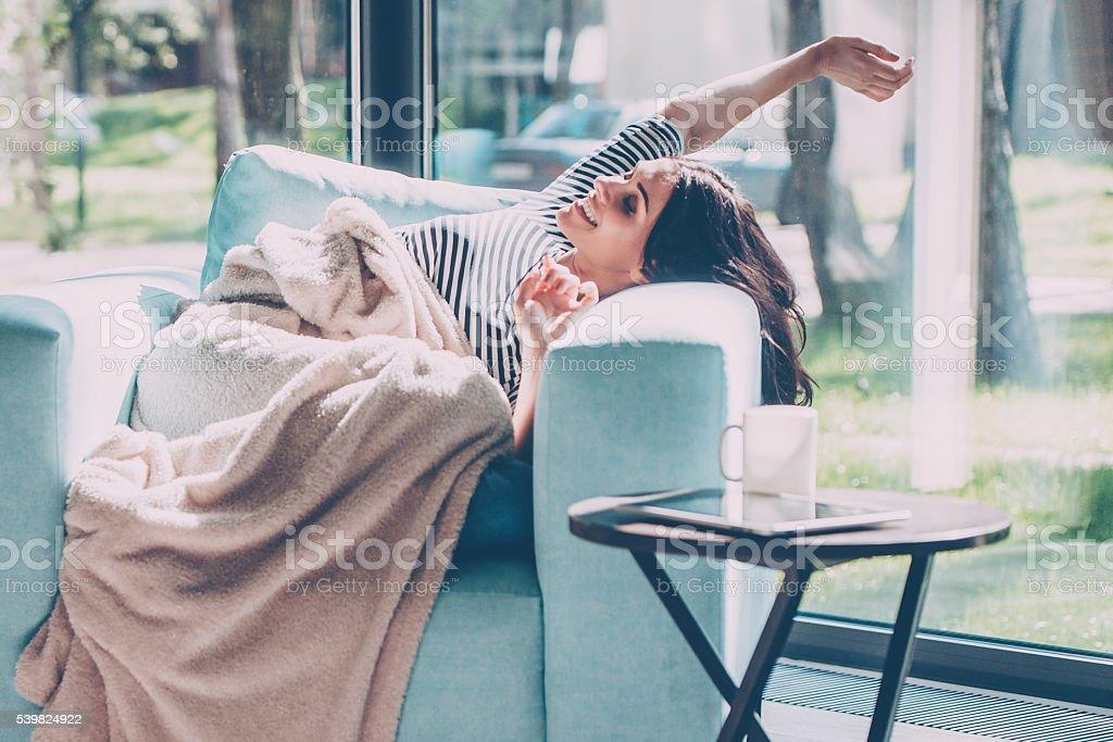 Enjoying beautiful morning. stock photo