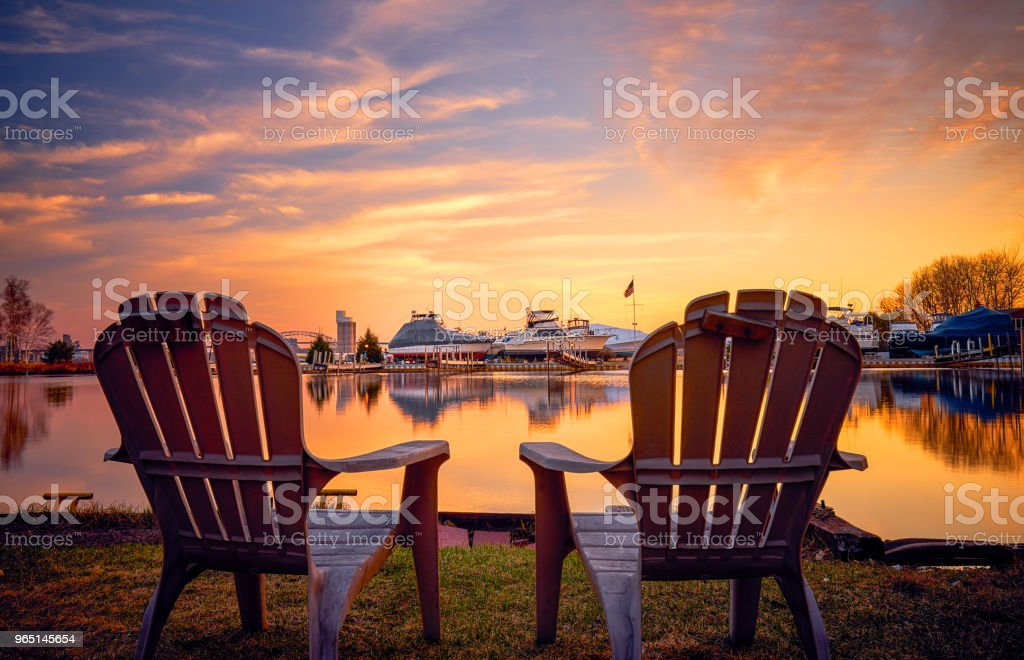 Enjoying Beautiful Sunset at Park Point, Duluth, MN zbiór zdjęć royalty-free