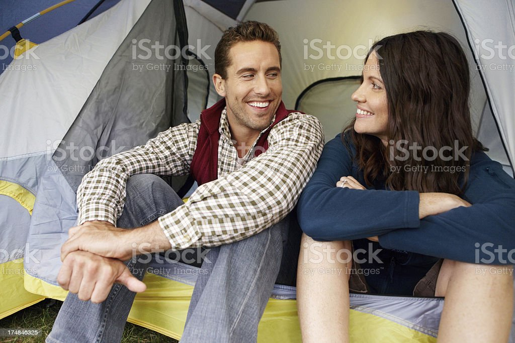 Enjoying bonding while out camping royalty-free stock photo