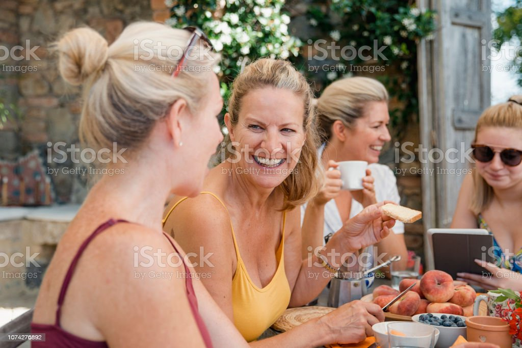 Enjoying Breakfast on Holiday stock photo