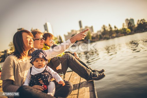 Photo of happy family enjoying together by the river