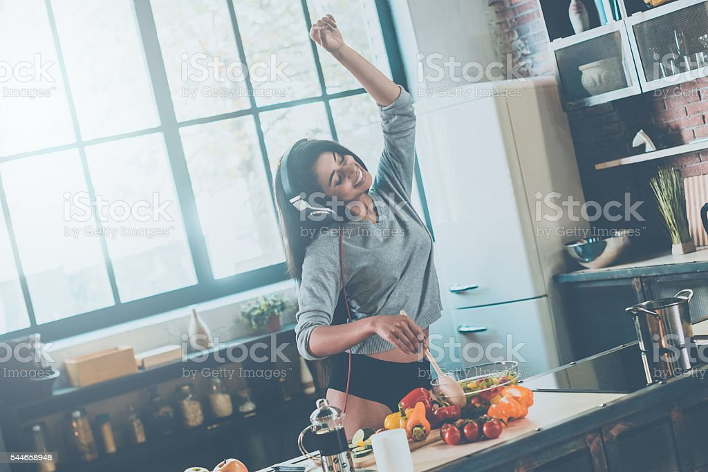 Enjoying carefree morning. stock photo