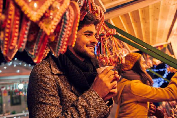 Enjoying Christmas Market stock photo