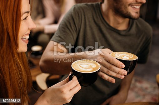 Friends enjoying free time and drinking coffee together