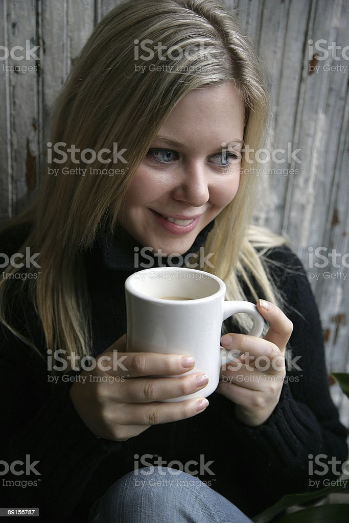 Enjoying coffee royalty-free stock photo