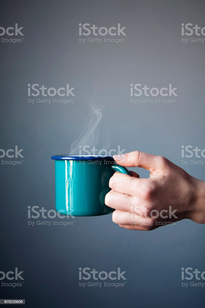 Enjoying cup of coffee stock photo