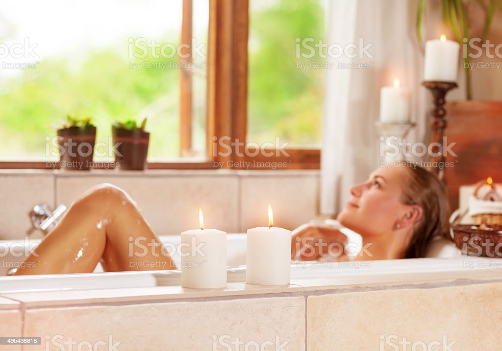 Enjoying day spa stock photo