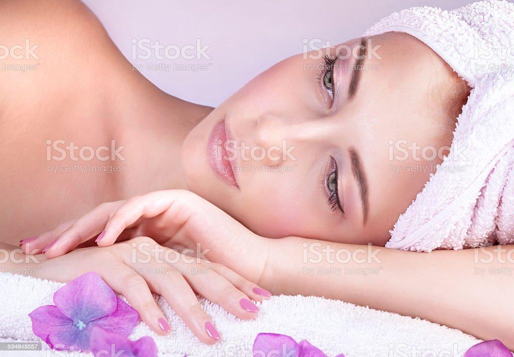 Enjoying day spa stock photo