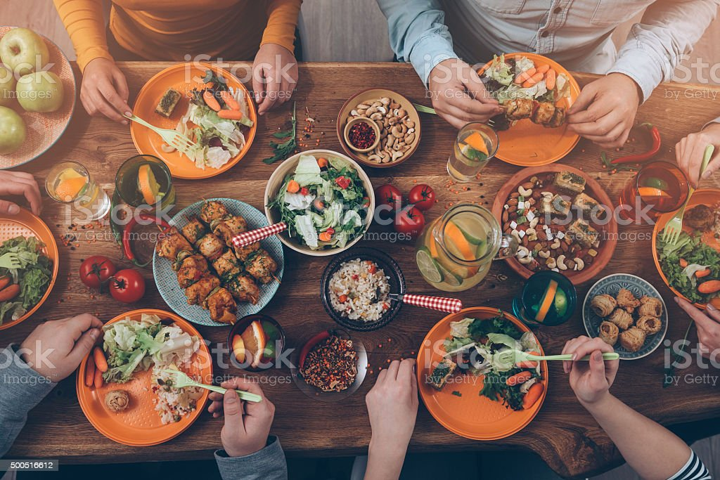 Enjoying dinner with friends. royalty-free stock photo