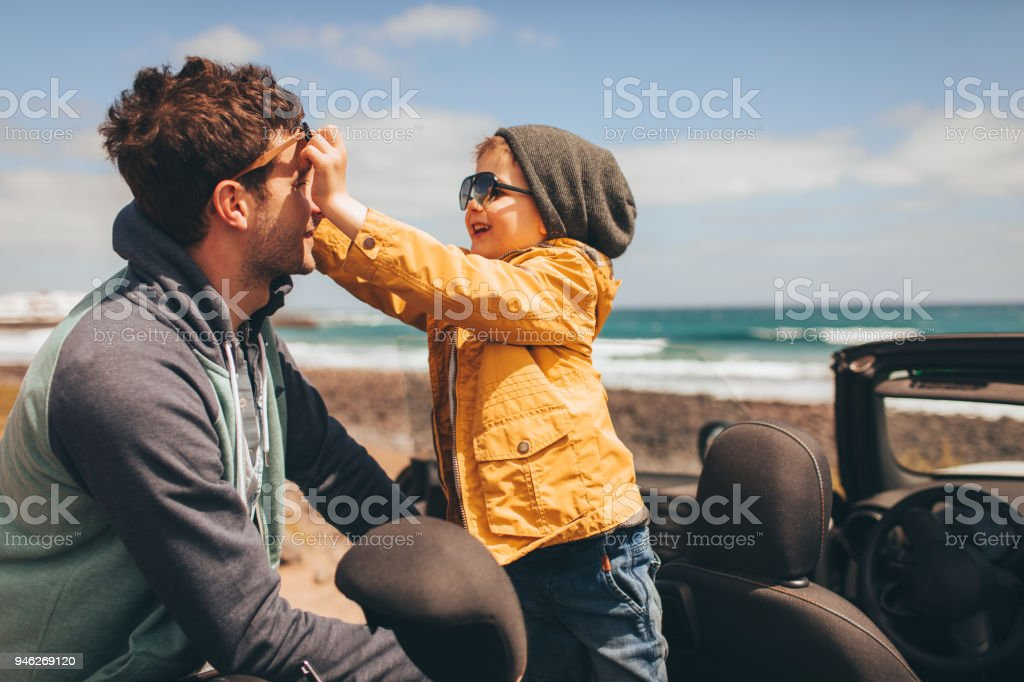 Enjoying family road trip stock photo