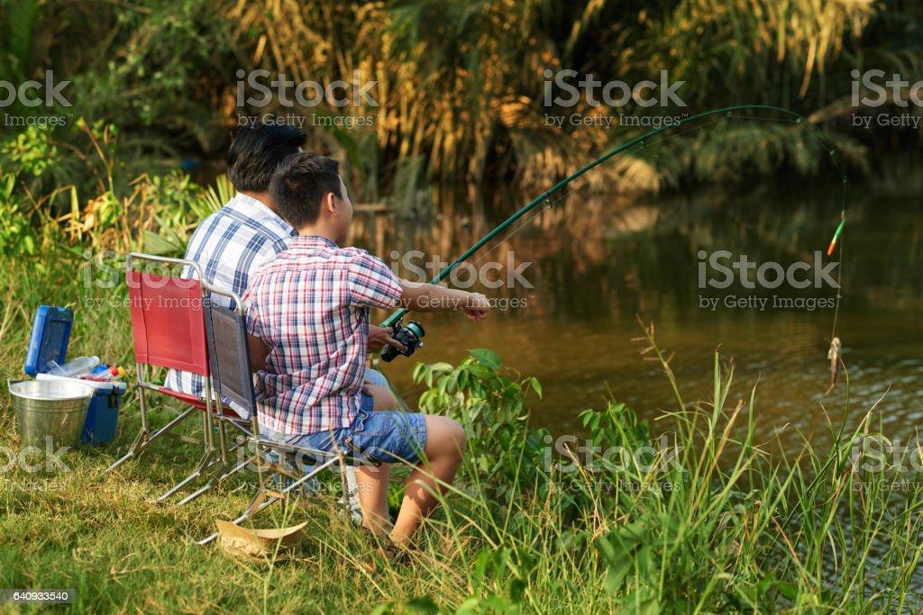 Enjoying fishing stock photo