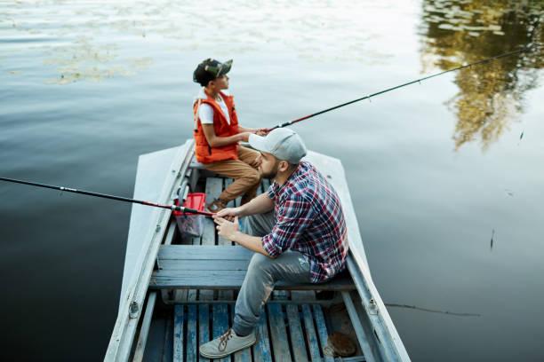 Cтоковое фото Enjoying fishing with dad