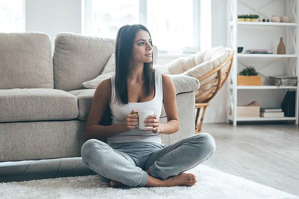 Enjoying fresh coffee at home. stock photo
