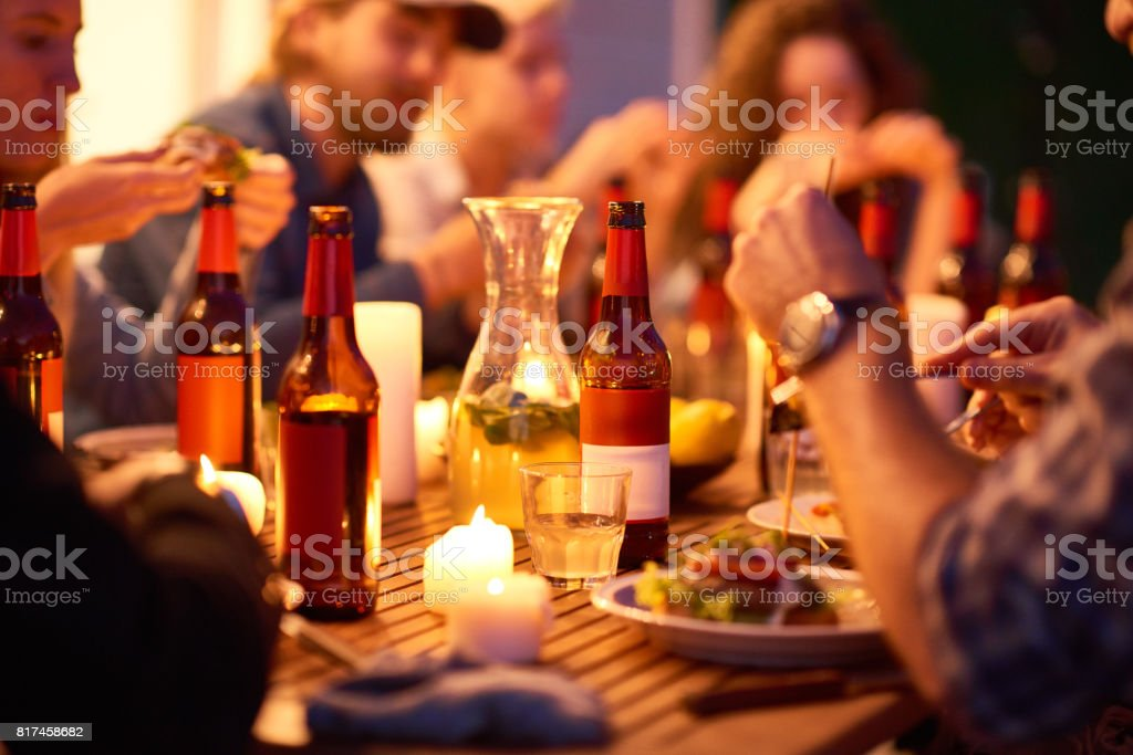 Enjoying good food and drinks stock photo