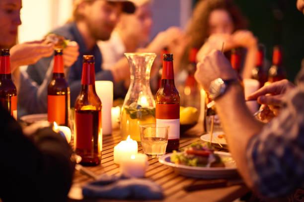 Enjoying good food and drinks stock photo