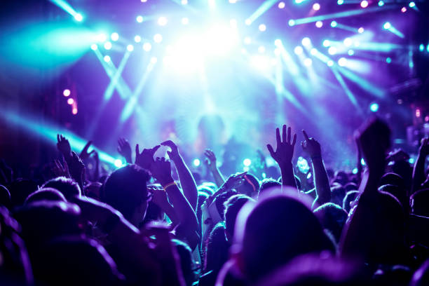 Enjoying great concert Crowd raising their hands and enjoying great festival party. performance stock pictures, royalty-free photos & images