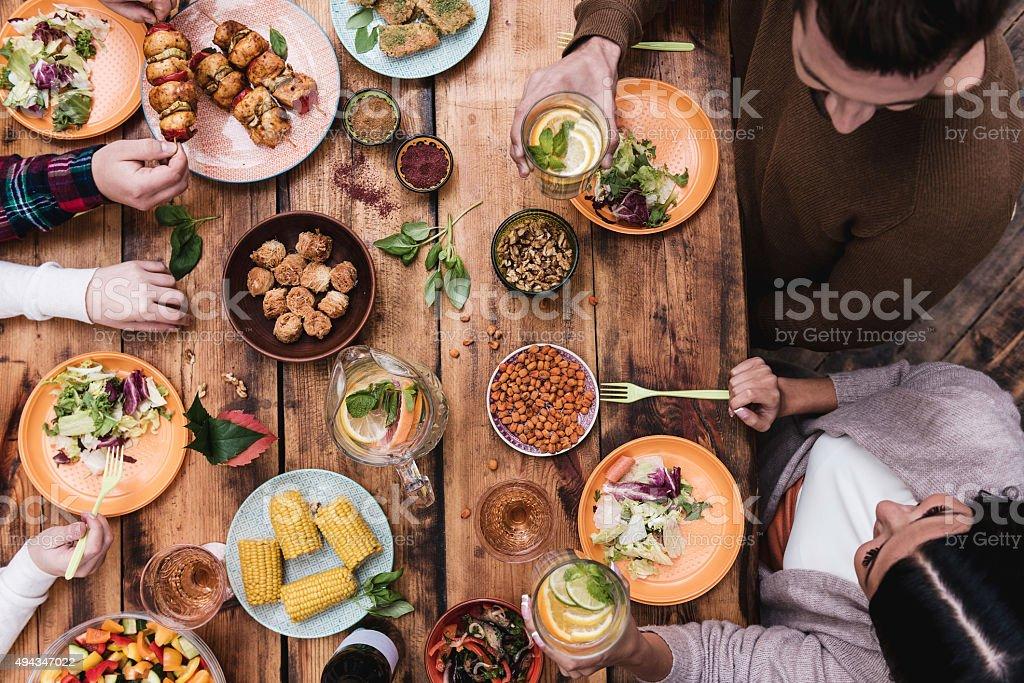 Enjoying great dinner. stock photo