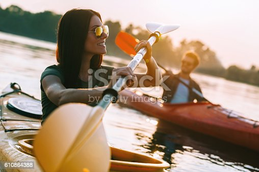 istock Enjoying great time on river. 610864388