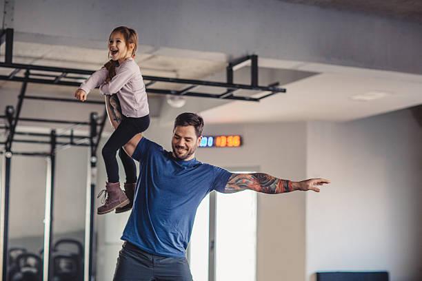 Enjoying gym together stock photo
