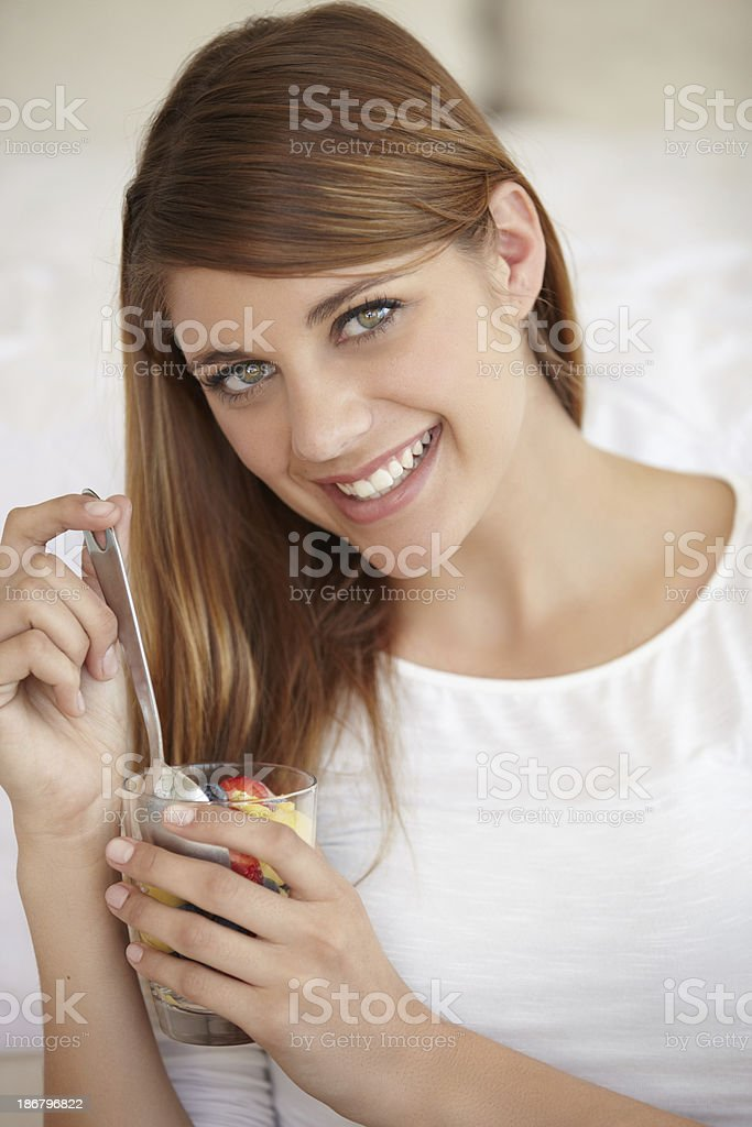 Enjoying her new diet royalty-free stock photo