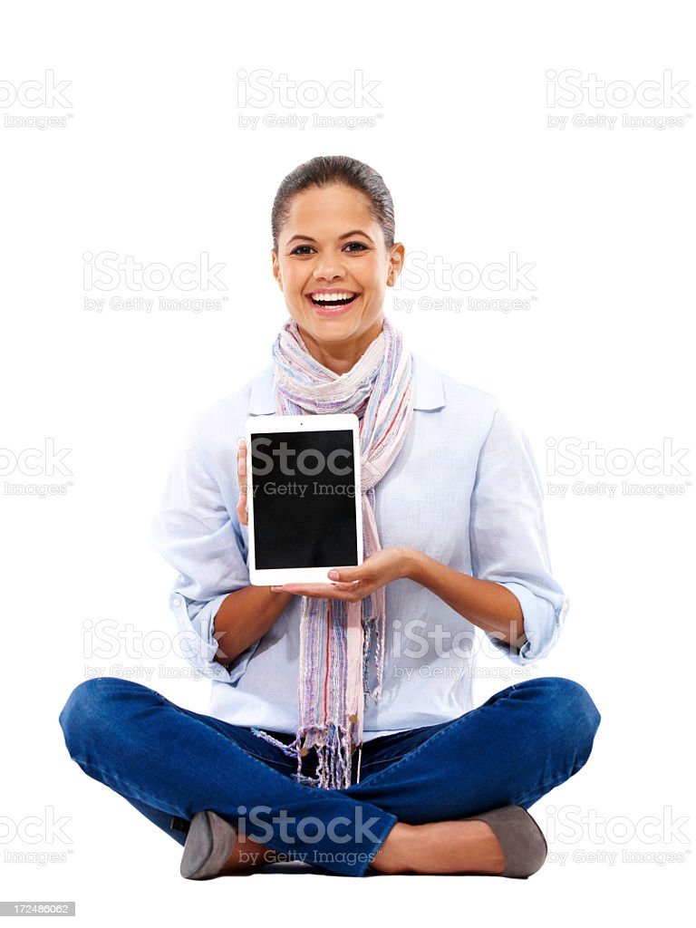 Enjoying her new tablet to the fullest! royalty-free stock photo