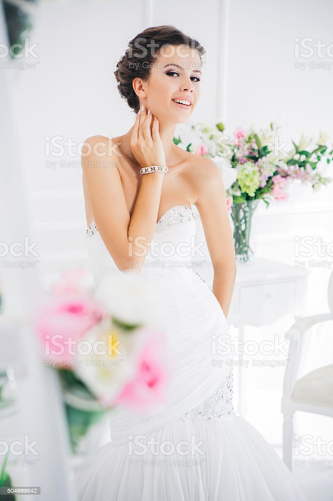 Enjoying her wedding day stock photo