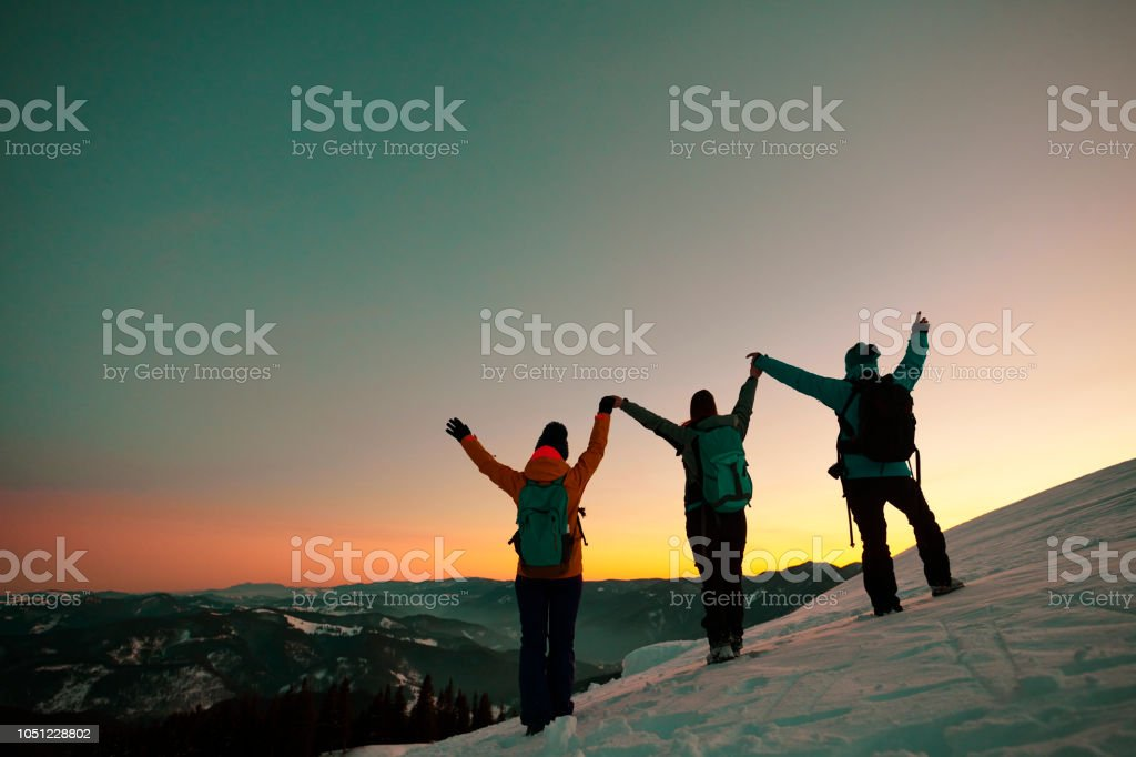 enjoying hiking success stock photo