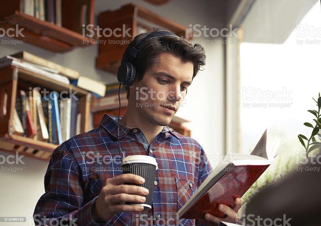 Enjoying his cup of freshly ground Heaven stock photo