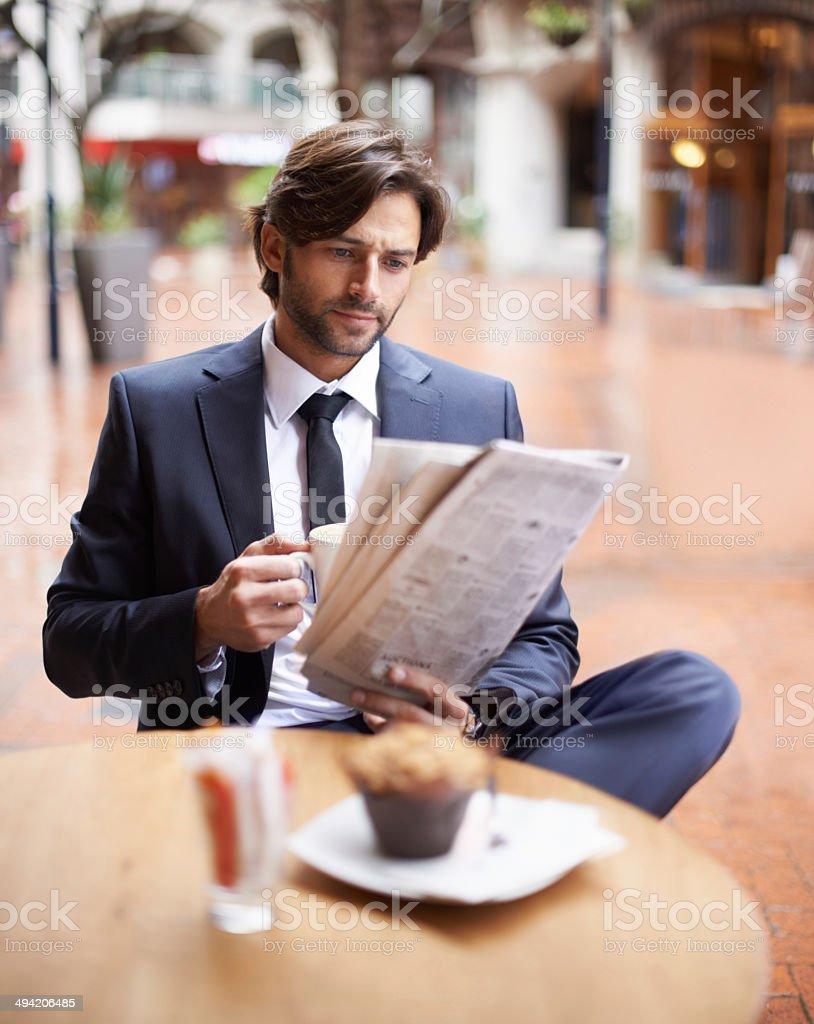 Enjoying his lunch break stock photo
