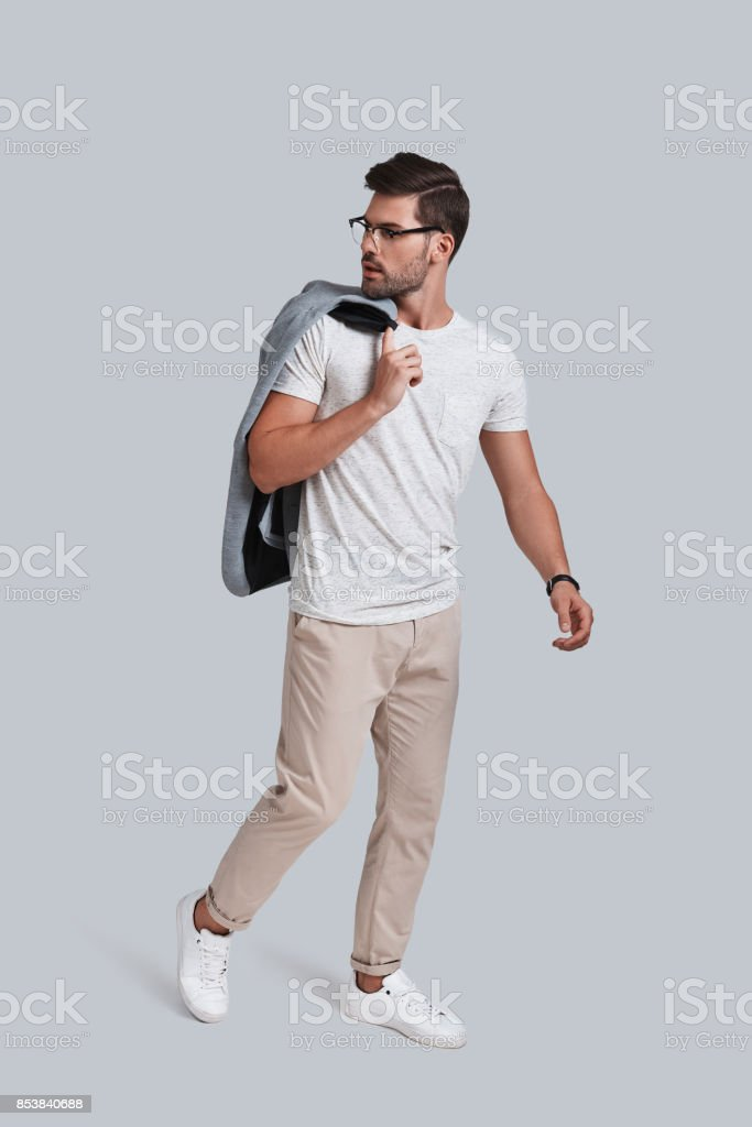 Enjoying his own style. stock photo