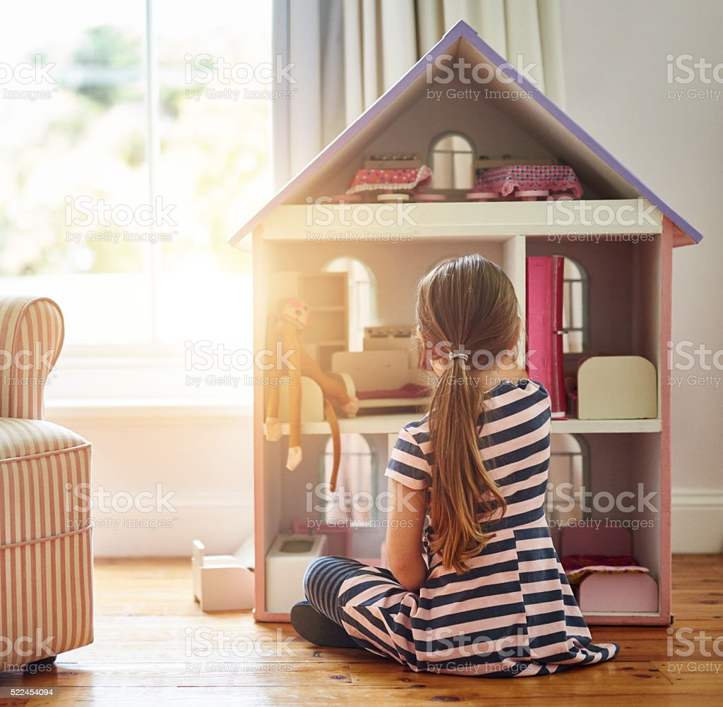 Enjoying hour upon hour of creative, imaginative play stock photo