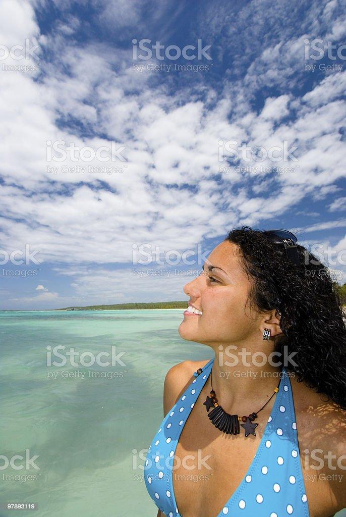 Enjoying in a Tropical beach royalty-free stock photo