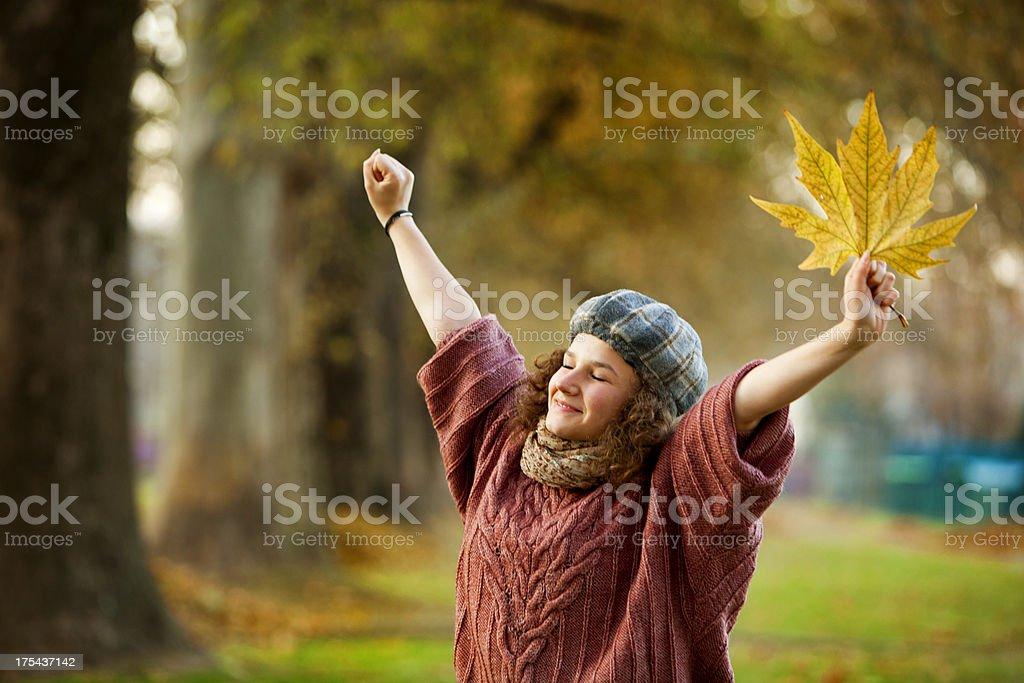 enjoying in autumn royalty-free stock photo