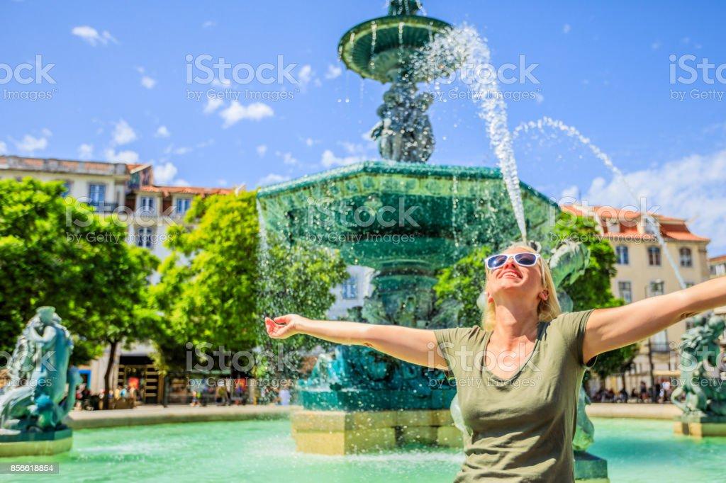 Enjoying in Lisbon stock photo