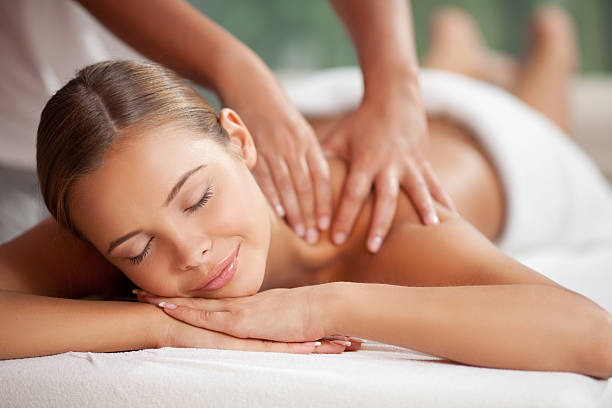 Enjoying in massage stock photo