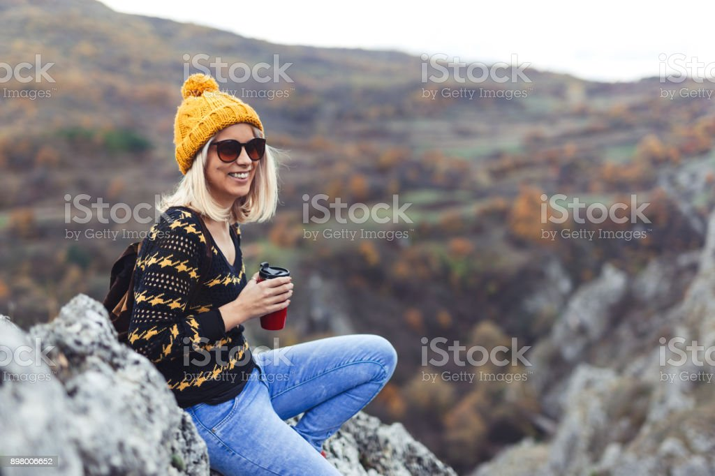 Enjoying in nature with coffee stock photo