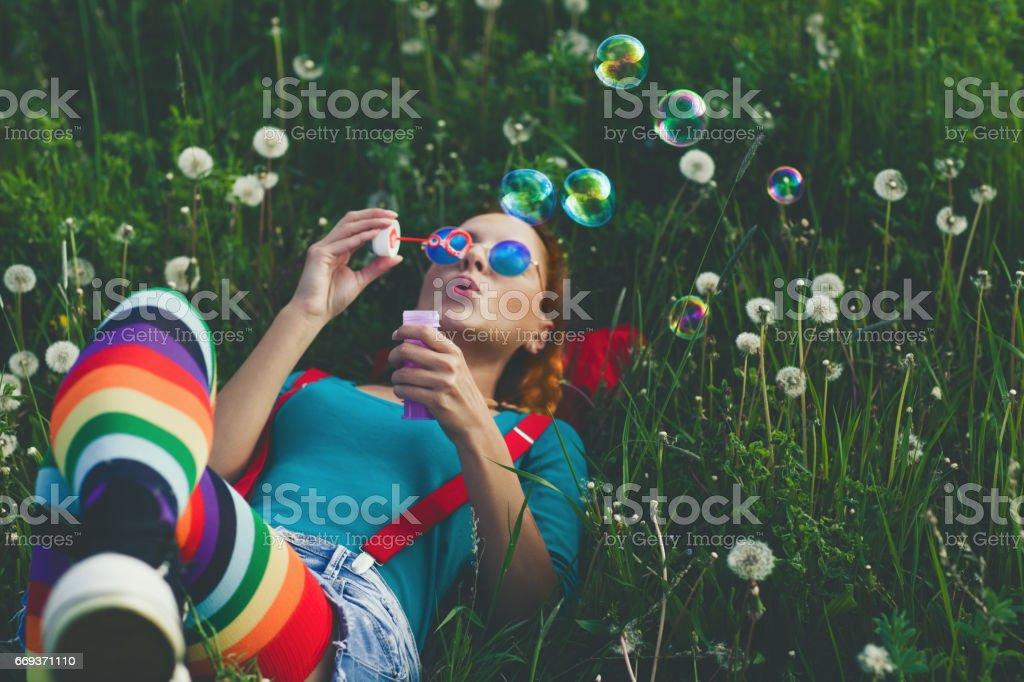 春を楽しむ - せっけんの泡のロイヤリティフリーストックフォト