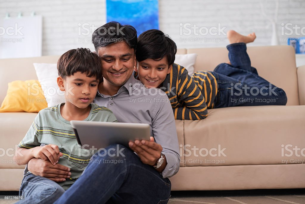 Enjoying movie stock photo