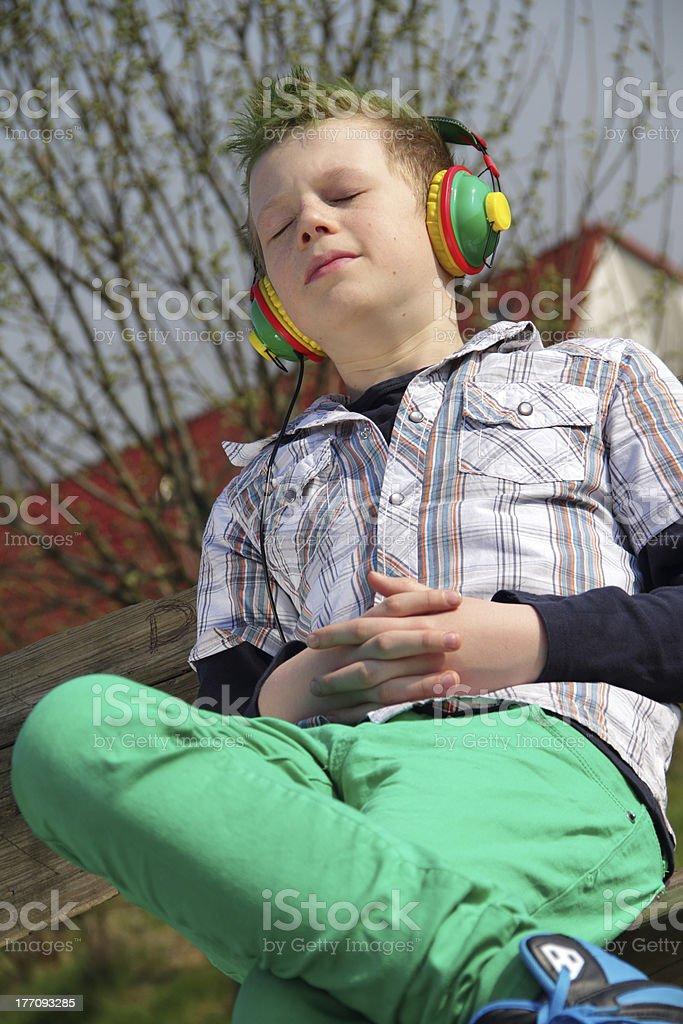 enjoying music close stock photo