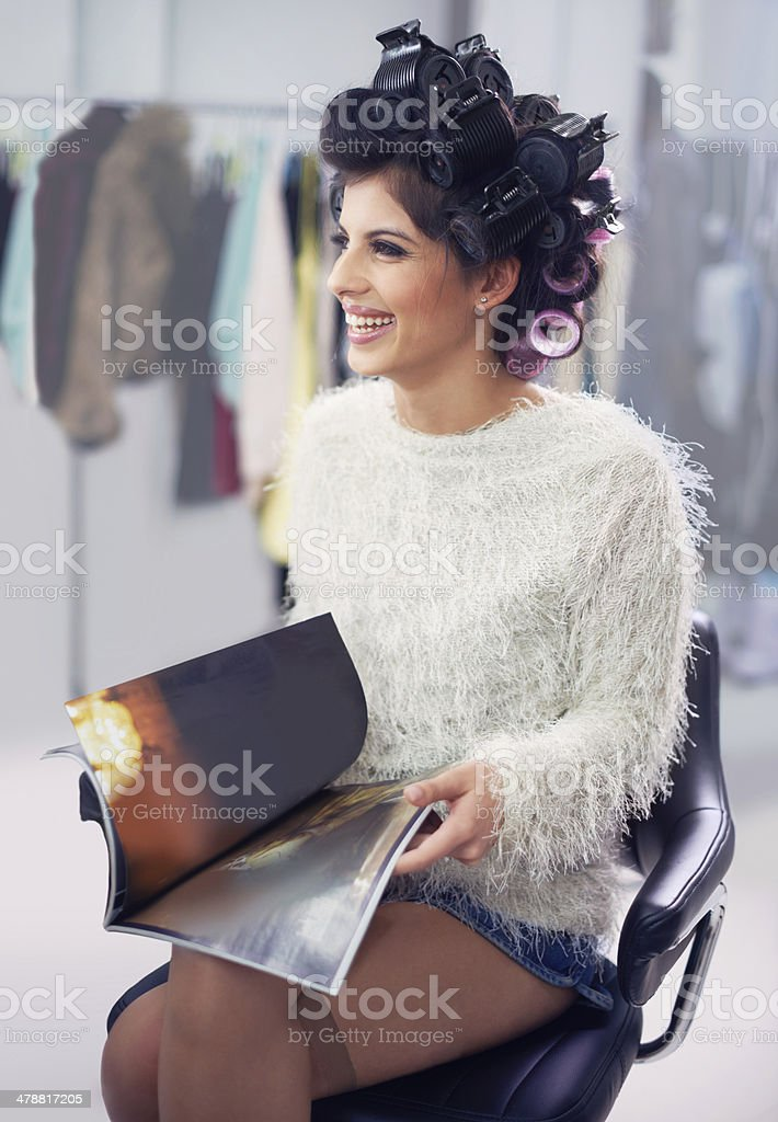 Enjoying my day of pampering stock photo