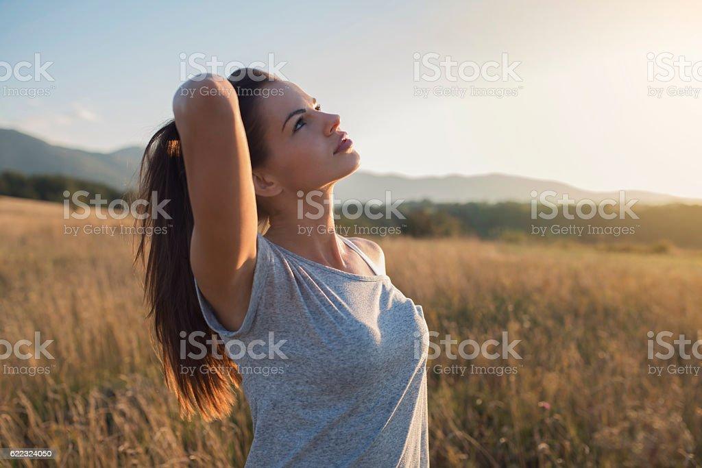 Enjoying my freedom stock photo