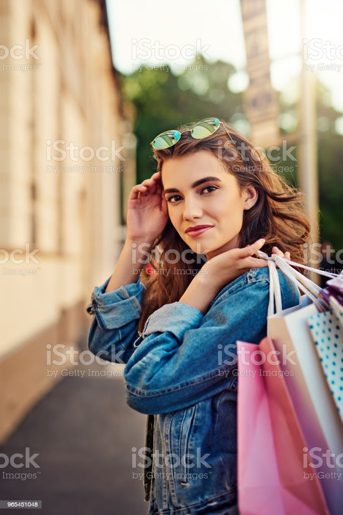 Enjoying my summer by going shopping royalty-free stock photo
