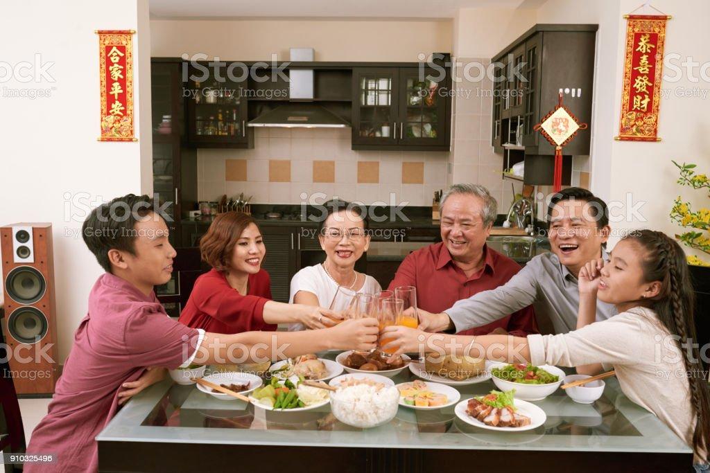 Enjoying New Year celebration stock photo